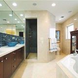 Marble bath with walk in shower and jacuzzi