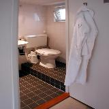 The bathroom is small, but very tidy and efficient.